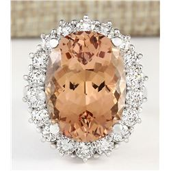 16.87 CTW Natural Morganite And Diamond Ring In 18K White Gold