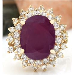 9.86 CTW Natural Ruby 14K Solid Yellow Gold Diamond Ring