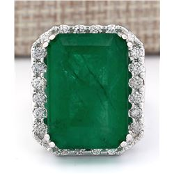 22.76 CTW Natural Emerald And Diamond Ring In 14k White Gold