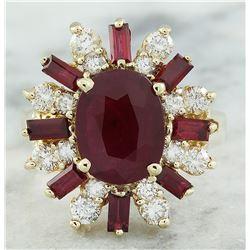 4.25 CTW Ruby 18K Yellow Gold Diamond Ring