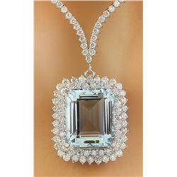 28.60 CTW Aquamarine 18K White Gold Diamond Necklace