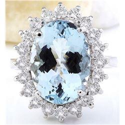 7.00 CTW Natural Aquamarine 14K Solid White Gold Diamond Ring