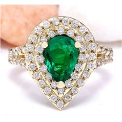 3.00 CTW Natural Emerald 14K Solid Yellow Gold Diamond Ring