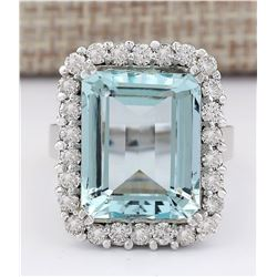 16.06 CTW Natural Aquamarine And Diamond Ring In 18K White Gold