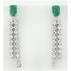 2.10 CTW Emerald 18K White Gold Diamond Earrings