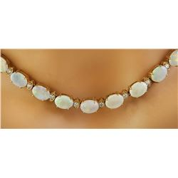 21.40 CTW Opal 18K Yellow Gold Diamond Necklace