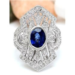 2.73 CTW Natural Sapphire 18K Solid White Gold Diamond Ring