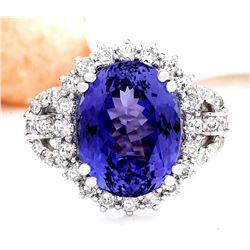10.36 CTW Natural Tanzanite 14K Solid White Gold Diamond Ring