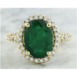 3.70 CTW Emerald 14K Yellow Gold Diamond Ring