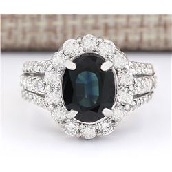 4.70 CTW Natural Blue Sapphire And Diamond Ring In 14k White Gold