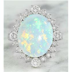5.85 CTW Opal 18K White Gold Diamond Ring