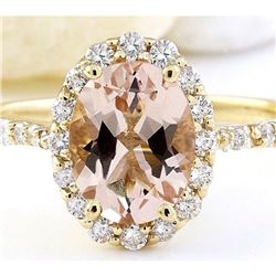 2.28 CTW Natural Morganite 18K Solid Yellow Gold Diamond Ring