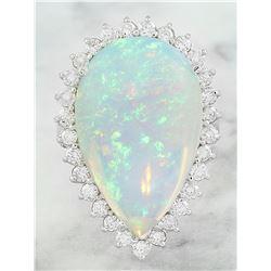 14.00 CTW Opal 14K White Gold Diamond Ring