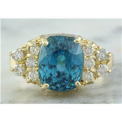 7.12 CTW Zircon 18K Yellow Gold Diamond Ring