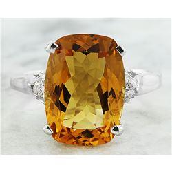 6.26 CTW Citrine 18K White Gold Diamond Ring