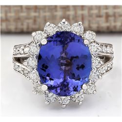 7.33 CTW Natural Blue Tanzanite And Diamond Ring 18K Solid White Gold