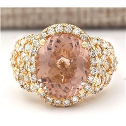 7.49 CTW Natural Morganite And Diamond Ring In 18K Solid Yellow Gold