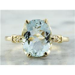3.70 CTW Aquamarine 14K Yellow Gold Diamond Ring