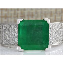 5.66 CTW Natural Emerald And Diamond Ring 18K Solid White Gold