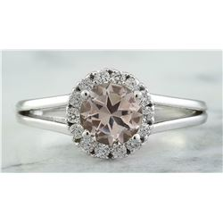 1.28 CTW Morganite 14K White Gold Diamond Ring