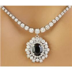 8.60 CTW Sapphire 14K White Gold Diamond Necklace