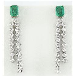 2.10 CTW Emerald 14K White Gold Diamond Earrings