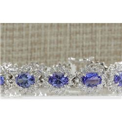 21.40 CTW Natural Tanzanite And Dimond Bracelet In 14k Solid White Gold