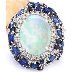 21.25 CTW Natural Opal, Sapphire 18K Solid White Gold Diamond Ring