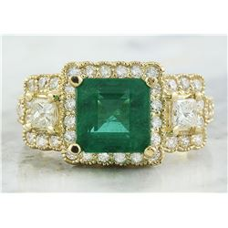 3.97 CTW Emerald 14K Yellow Gold Diamond Ring