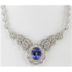 31.51 CTW Natural Tanzanite And Diamond Necklace 14K Solid White Gold