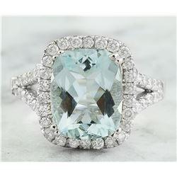 3.90 CTW Aquamarine 14K White Gold Diamond Ring
