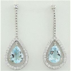 7.70 CTW Aquamarine 14K White Gold Diamond Earrings