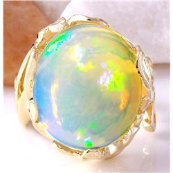 11.08 CTW Natural Opal 18K Solid Yellow Gold Ring