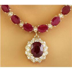 44.60 CTW Ruby 14K Yellow Gold Diamond necklace