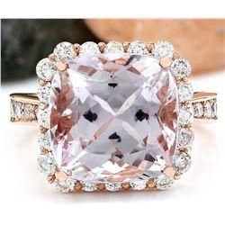 11.87 CTW Natural Kunzite 18K Solid Rose Gold Diamond Ring