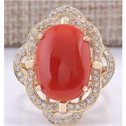 7.92CTW Natural Coral And Diamond Ring In 14K Yellow Gold