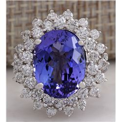 7.13 CTW Natural Blue Tanzanite And Diamond Ring In 14K White Gold