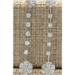 2.10 CTW Natural Diamond Earrings 14K Solid White Gold
