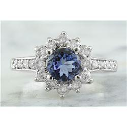 1.88 CTW Tanzanite 18K White Gold Diamond Ring