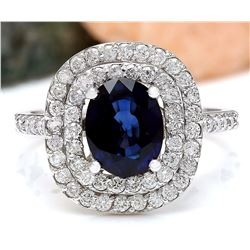 3.48 CTW Natural Sapphire 18K Solid White Gold Diamond Ring
