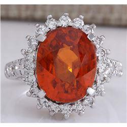 11.09 CTW Natural Mandarin Garnet And Diamond Ring In18K White Gold