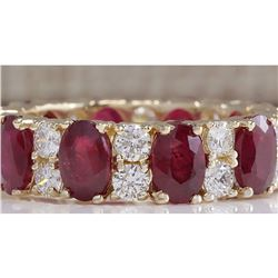 8.07 CTW Natural Red Ruby Diamond Ring 18K Solid Yellow Gold