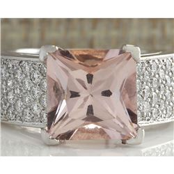 5.35 CTW Natural Morganite And Diamond Ring 14K Solid White Gold