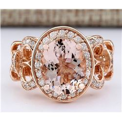 4.50 CTW Natural Morganite And Diamond Ring In 18K Rose Gold
