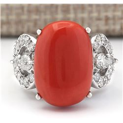 10.20 CTW Natural Coral And Diamond Ring In 18K White Gold