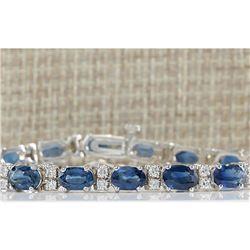 12.80 CTW Natural Blue Sapphire Diamond Bracelet 14K Solid White Gold