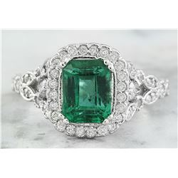 2.64 CTW Emerald 18K white Gold Diamond Ring