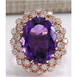 10.19 CTW Natural Amethyst And Diamond Ring In 18K Solid Rose Gold