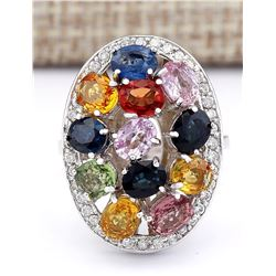5.34 CTW Natural Ceylon Sapphire And Diamond Ring In 18K White Gold