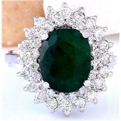 4.96 CTW Natural Emerald 18K Solid White Gold Diamond Ring